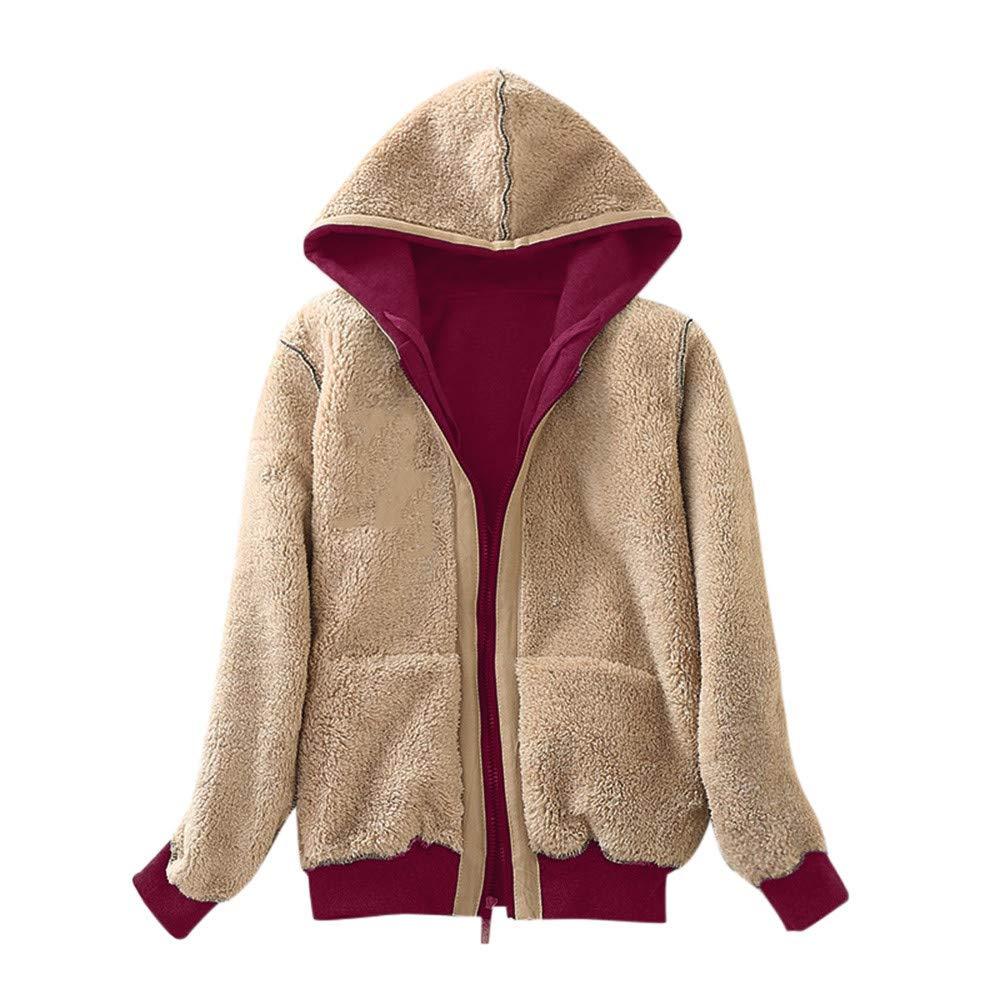Pumsun Womens Casual Winter Warm Sherpa Lined Zip Up Hooded Sweatshirt Jacket Coat