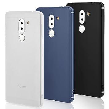 Funda Huawei Honor 6x [3 PCS], Leathlux 3X Carcasa [Ultra Delgado] Suave TPU Silicona Back Bumper Protector Tapa Flexible [3 Unidades] Case Cover para ...
