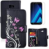 for Samsung Galaxy A5 2017 Case Wallet Black,OYIME with Screen Protector Kickstand Magnetic Flip Leather Protective Back Cover [Butterfly Flower Embossed] Card Slot Holder for Galaxy A5 2017 Version A520 (NOT for A500/A510)