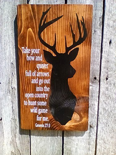 Handmade Deer Hunter Bible Verse Hand Painted Wood Sign -