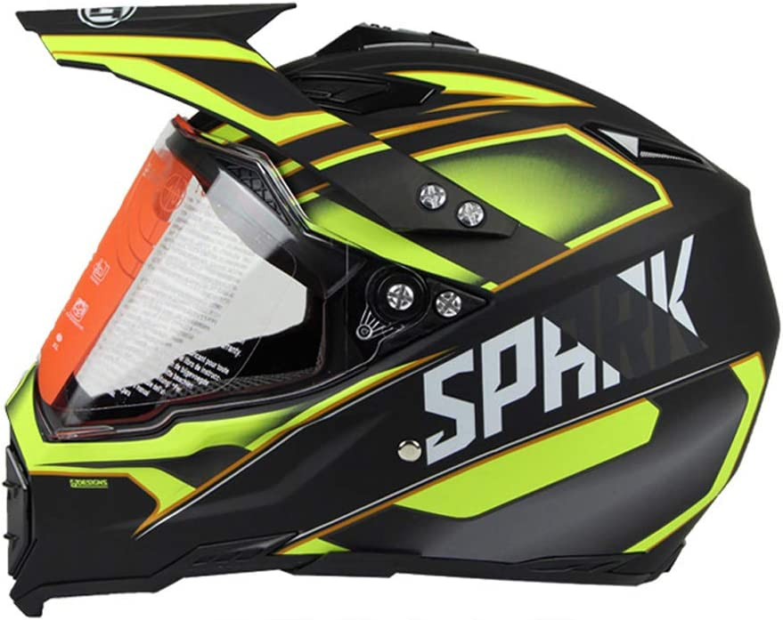 Mangen Motocross Helm Integralhelm Motorradhelm ATV Dirt Bike Off Road Helm Gelb, S