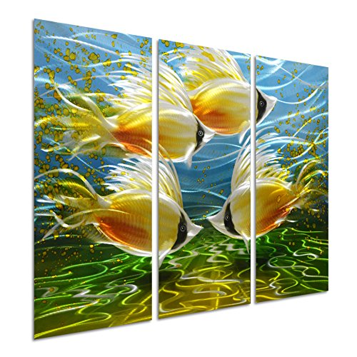 Pure Art Tropical Fish at Sea - Nautical Metal Wall Art - Small Ocean Hanging Sculpture - Modern Beach Decoration of 3 Panels of 32