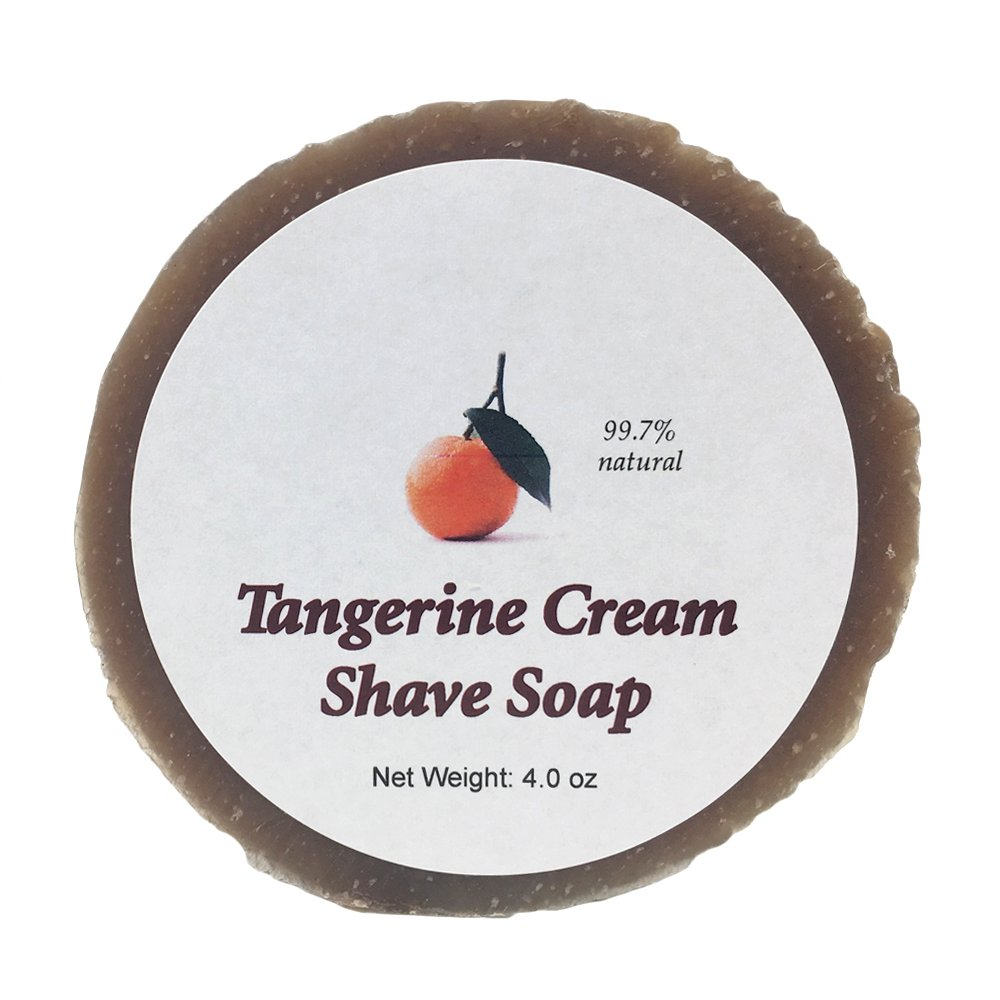 Tangerine Cream Shave Soap by MoonDance Soaps - Handmade with Shea Butter, Bentonite Clay, Citrus Essential Oils, and Vitamin E (One Round)
