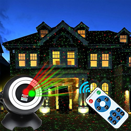 Kyson Laser Light Projector Red & Green Moving Landscape Spotlight Rotating Led Ball with RGB Remote Control for Indoor Outdoor Party Wedding Festival Home Garden Decoration