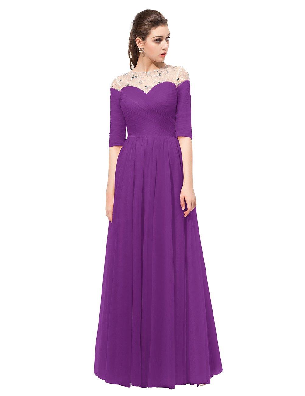 Dresstell レディーズ ロング丈 お呼ばれ 結婚式ドレス フォーマルドレス ビジュー付き カラーチュチュ 袖付き 花嫁ワンピース 二次会ドレス 編み上げ ダンスドレス B01N9O5X58 JP11|パープル パープル JP11