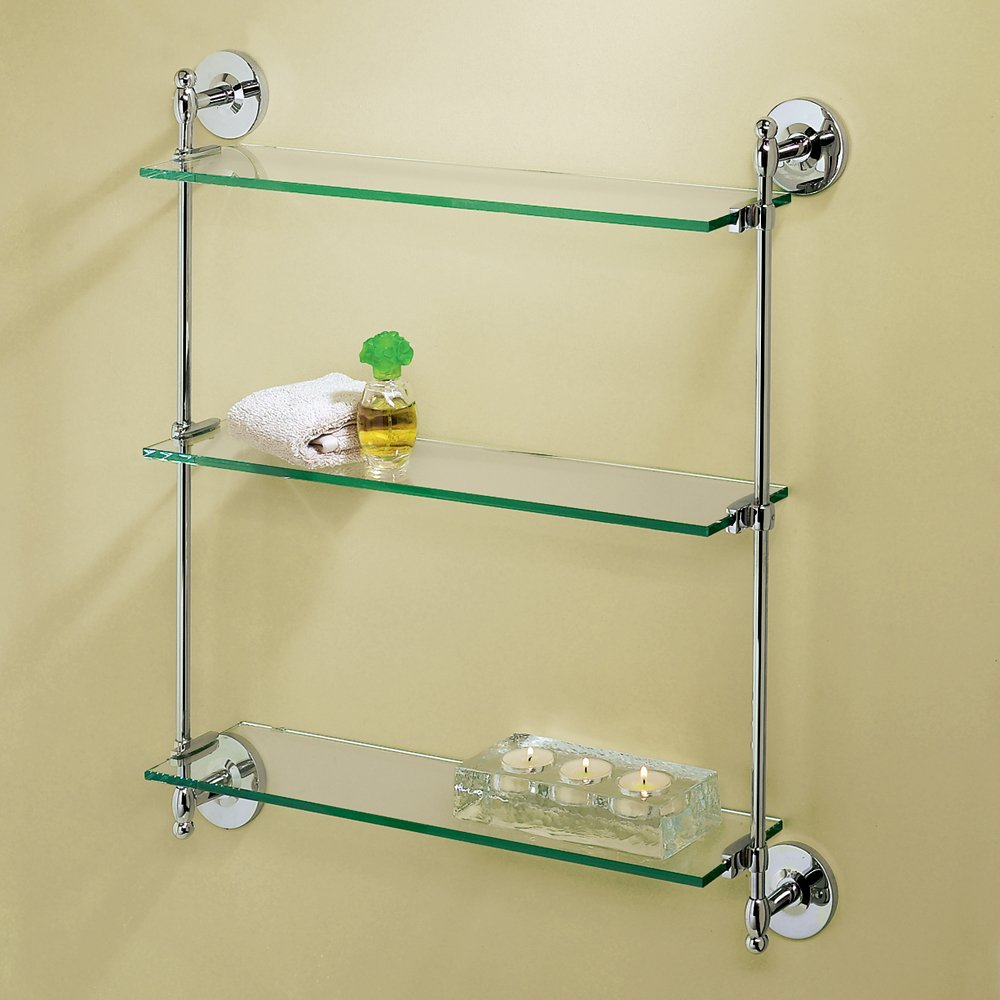 Gatco 1394 Premier 3-Tier Wall Glass Shelf, Chrome - Mounted ...
