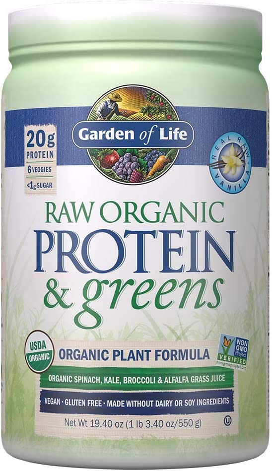 Garden of Life Greens and Protein Powder – Organic Raw Protein and Greens with Probiotics Enzymes, Vegan, Gluten-Free, Vanilla,19.40 1 lb 3.40oz 550g Powder,Package may vary