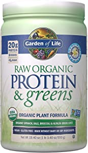Garden of Life Raw Protein & greens Vanilla, Vegan Protein Powder for Women and Men, Juiced Greens and 20g Raw Organic Plant Protein plus Probiotics & Enzymes, Gluten-Free Low Carb Shake, 20 Servings