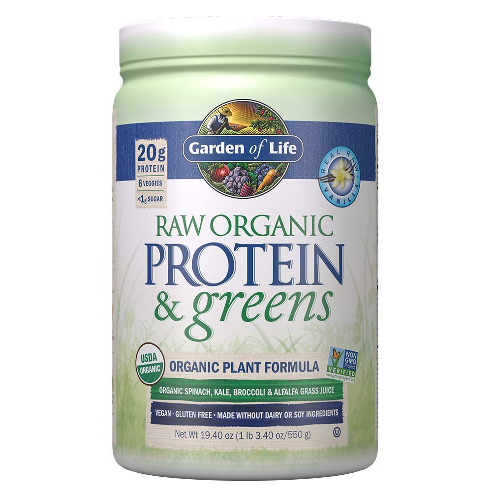 Garden of Life Greens and Protein Powder - Organic Raw Protein and Greens with Probiotics/Enzymes, Vegan, Gluten-Free, Vanilla,19.40 (1 lb 3.40oz/550g) Powder,Package may vary by Garden of Life