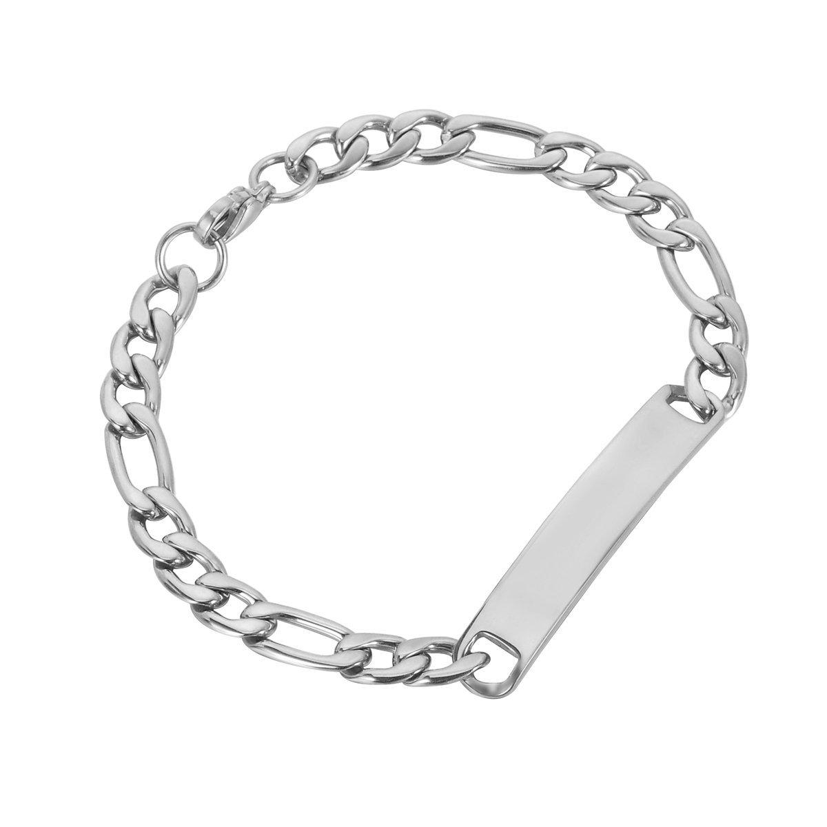 HooAMI Stainless Steel Figaro Chain Link ID Bracelet - Free Engraving TY EGBETY99794