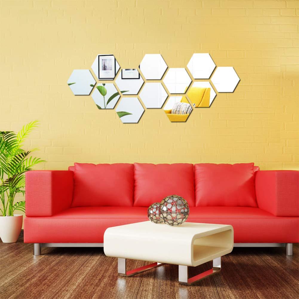 KISSBUTY Mirror Wall Stickers, 12 Pcs 11.8cm Hexagon Mirror Wall Decals Crystal Acrylic Removable Mirror Wall Stickers Wall Decoration Murals for Home Living Room Bedroom Decor,Small