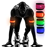 Emmabin [4 Pack LED Slap Armband Lights Glow Band for Running, Replaceable Battery - 4 Modes (Always Bright/Quick Flashing/Sl