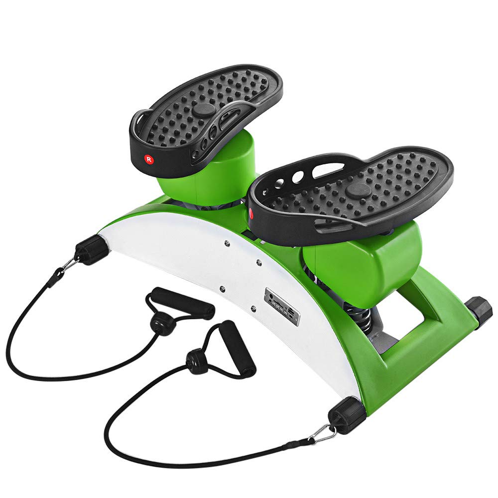 Basde Portable Mute Stepper Pedal, Lightweight Household Office Air Stepper Climber Exercise Fitness Sports Stepper Legs Exercise & Fitness Step Machines with Resistance Bands for Wowen Man (Green) by Basde
