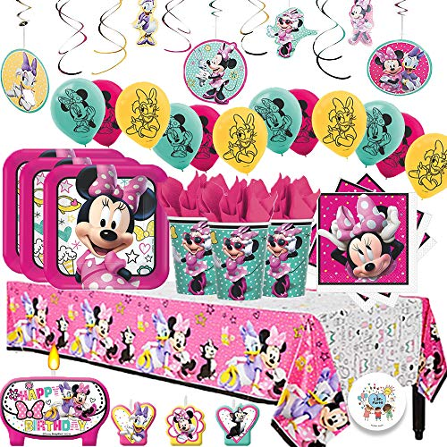 Disney Minnie Mouse Mega Deluxe Birthday Party Pack for 16 with Plates, Napkins, Cups, Tablecover, Candles, Hanging Swirl Decorations, and Balloons ()