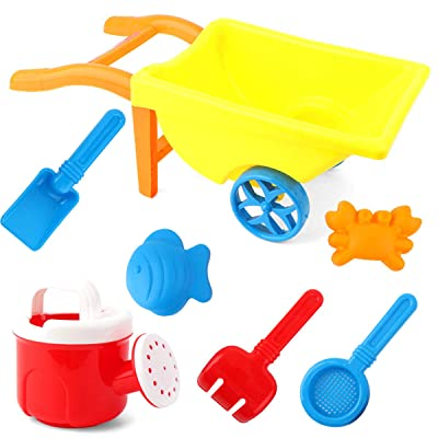 Rehomy Kids Beach Toy Set, 7pcs Sand Toys Set with Cart Buggy, Watering Can, Shovels, Rakes, Models Garden Toy for Boys, Girls,Toddlers, Kids: Sports & Outdoors