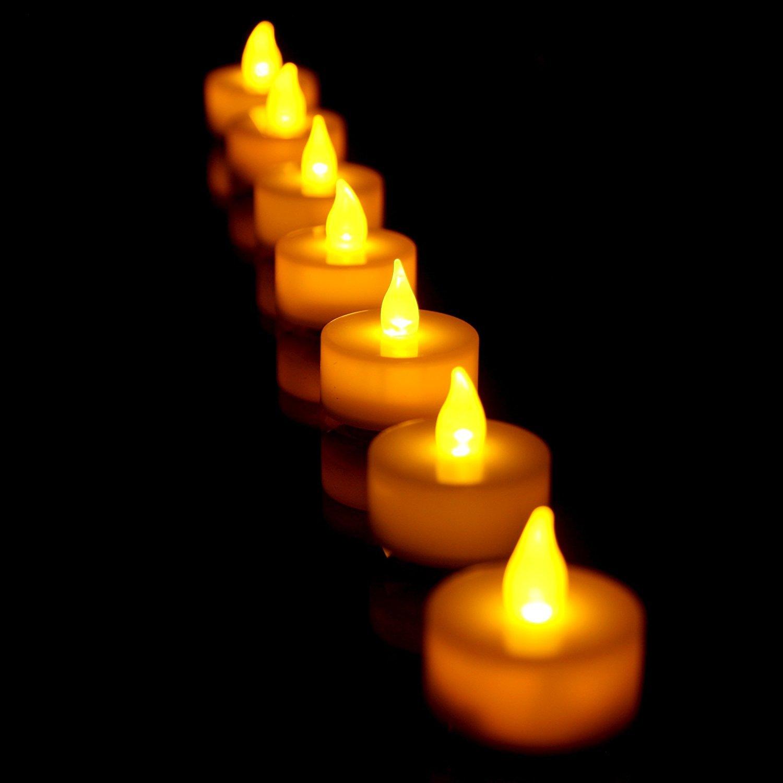 PrimeTrendz TM Flameless LED Tea Light Candles Battery Powered Realistic Bulk Tealights, Warm Amber, Pack of 24