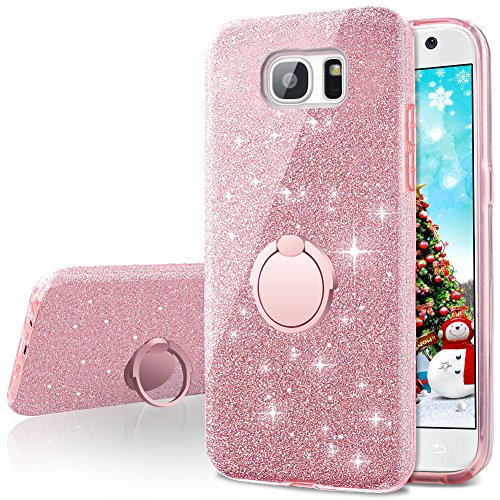 Galaxy S6 Case,Silverback Girls Bling Glitter Sparkle Cute Phone Case with 360 Rotating Ring Stand, Soft TPU Outer Cover + Hard PC Inner Shell Skin for Samsung Galaxy S6 -Rose Gold (Bling Skin Case Cover)
