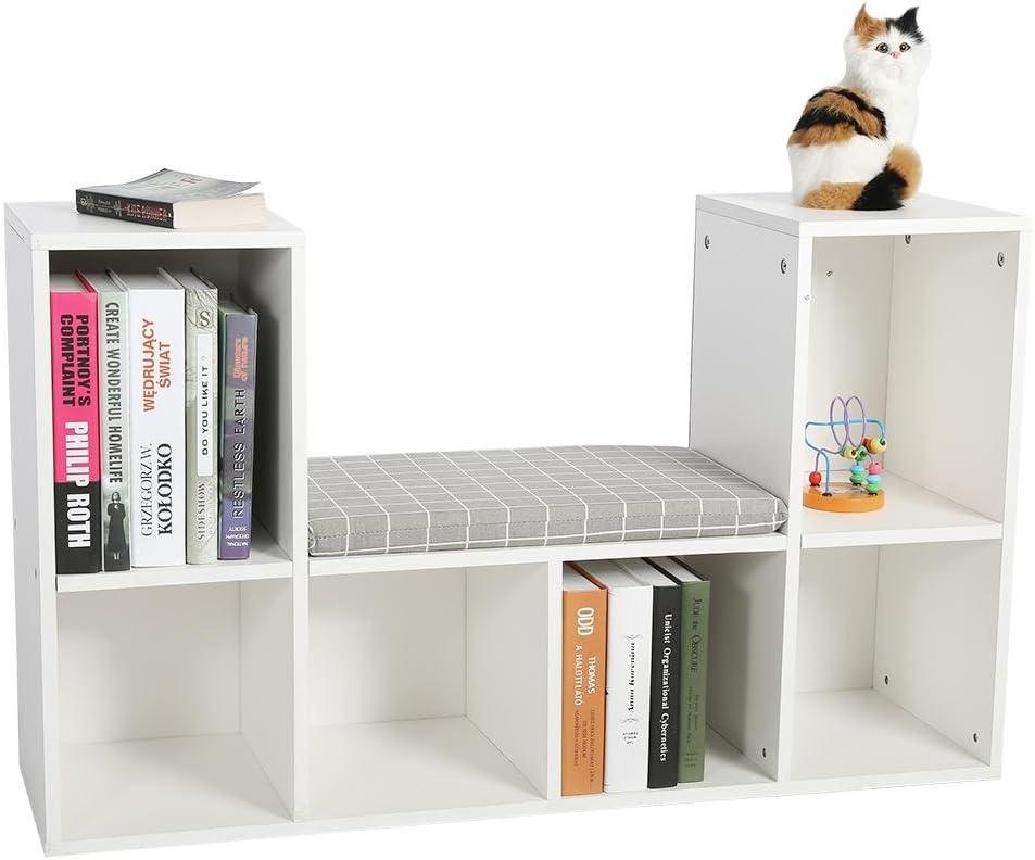 EBTOOLS Estante de Almacenamiento + Cojín, Estante para Libros Librero Multifuncional con Rincón de Lectura Uso en Oficina Doméstico (Blanco): Amazon.es: Hogar