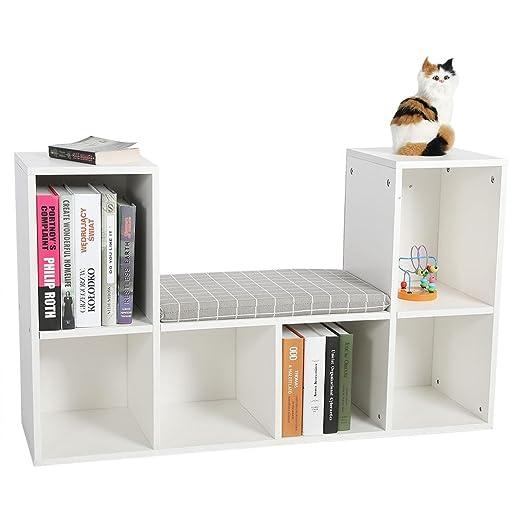EBTOOLS Estante de Almacenamiento + Cojín, Estante para Libros Librero Multifuncional con Rincón de Lectura Uso en Oficina Doméstico (Blanco)