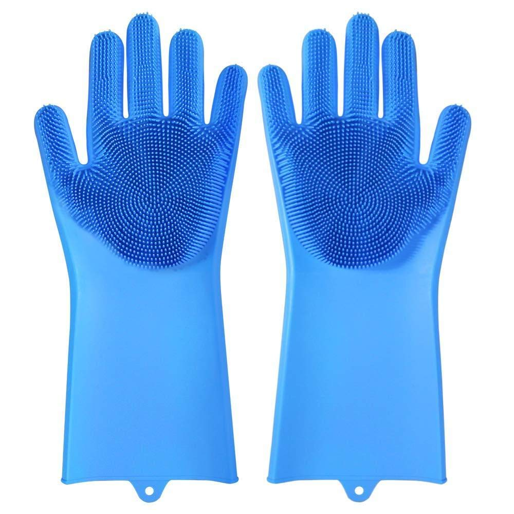 Magic Silicone Scrubbing Gloves Dish Washing Rubber Gloves Blue for Cleaning Heat Resistant Pet Hair Care 1 Pair Washing The Car Dish Washing Reusable