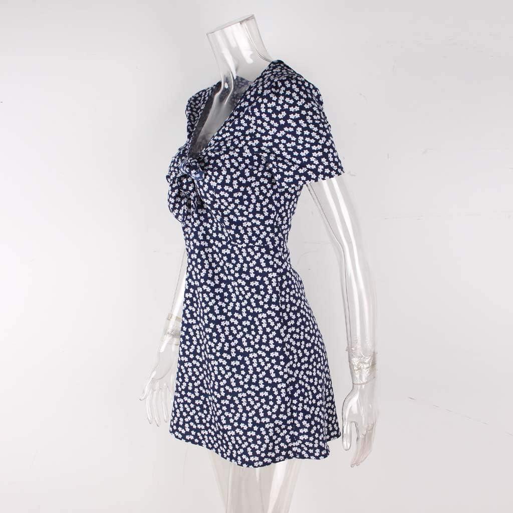 iHAZA V Neck Polka Dot Mini Dress Women Summer Short Sleeve Beach Party Sundress
