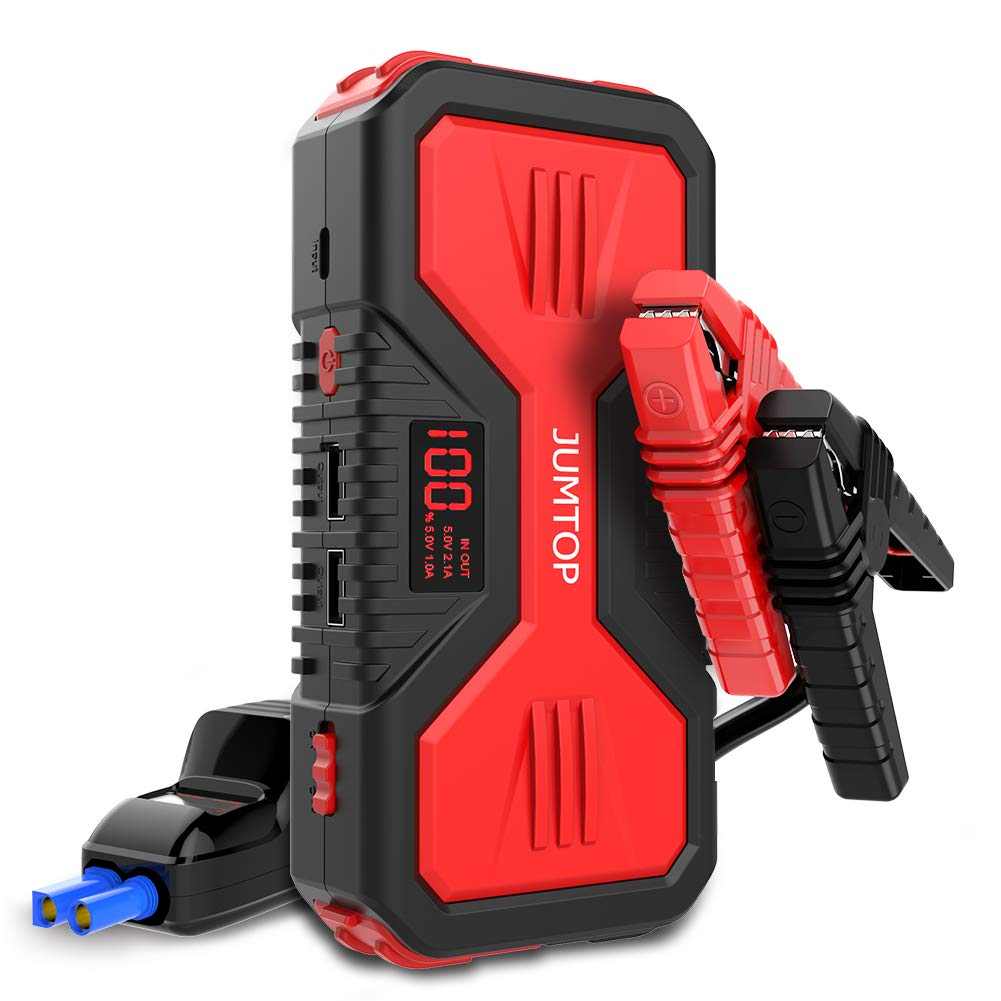 JUMTOP QDSP 1200A Peak 12000mAh Portable Car Jump Starter 8.0L Gas and 6.0L Diesel Engine Auto Battery Booster Power Bank Phone Charger with Dual USB Smart Charging Port and LED Flashlight