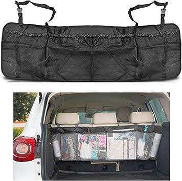 Togather Abnehmbare Auto Kofferraum Organizer Rücksitz Multi Tasche Lagerung Tasche Faltbare Autositz Organizer Mesh Halterung Tasche Schwarz Auto