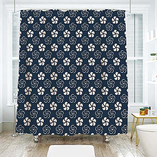 scocici DIY Bathroom Curtain Personality Privacy Convenience,Geometric,Monochrome Floral Arrangement Pinwheel Inspired Design Abstract Natural,Dark Blue Cream,108.2