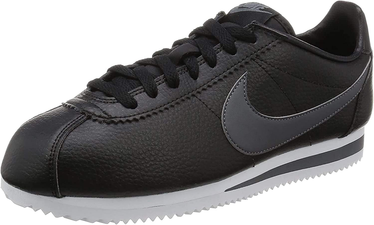 Nike Classic Cortez Leather, Chaussures de Running Homme Multicolore Noir Gris Blanc Black Dark Grey White