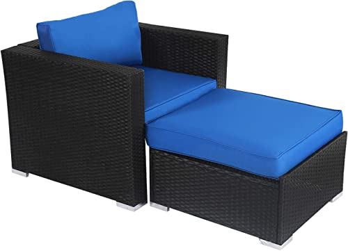 Kinsunny Wicker Furniture Set PE Wicker Rattan Outdoor All Weather Cushioned Sofas and Ottoman Set Lawn Pool Balcony Conversation Set Chat Set