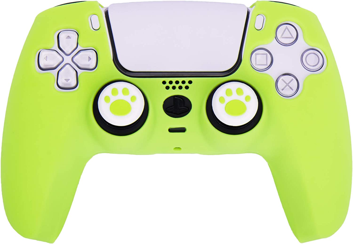 MXRC Silicone Rubber Cover Skin Case x 1 Anti-Slip Customize for PS5 Dualsense Controller x 1(Apple Green) + Cat Paw Thumb Grips x 2