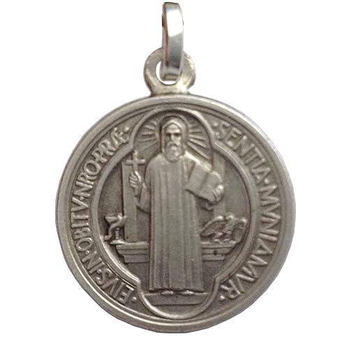 39d53096310 Medalla de San Benito de Plata de Ley 925 - Las medallas de Los Patronos   Amazon.es  Joyería