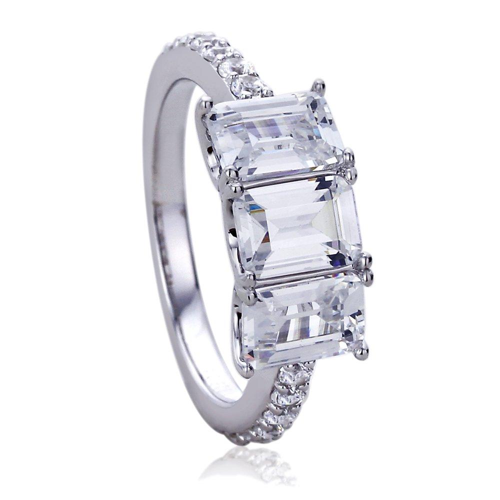 Sterling Silver Rhodium Plated Emerald Cut CZ Three Stone Wedding Anniversary Ring, 7