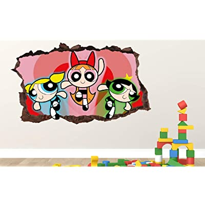 "Powerpuff Girls Group Wall Decal Decor Sticker Kids Vinyl Decal 3D - Wall Sticker - Custom Your Photo - ORIA79 (Large 38"" W x 22"" H Inches): Home & Kitchen"