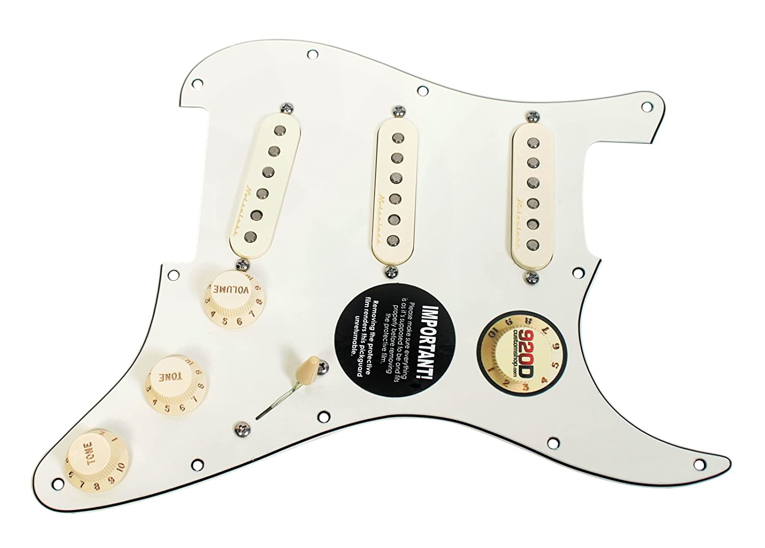 Fender Vintage Noiseless Stratocaster Pickups Set Amazon Com >> Fender Vintage Noiseless Tbx Loaded Strat Pickguard Parchment Aged White