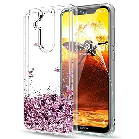 LeYi Funda Nokia 7.1 Plus Silicona Purpurina Carcasa con HD ...