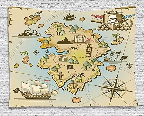 Ambesonne isla mapa Decor Collection, isla del tesoro de dibujos animados con barco pirata pecho Kraken pulpo náutica niños sala de juegos decoración, dormitorio sala de estar dormitorio tapiz colgar en la