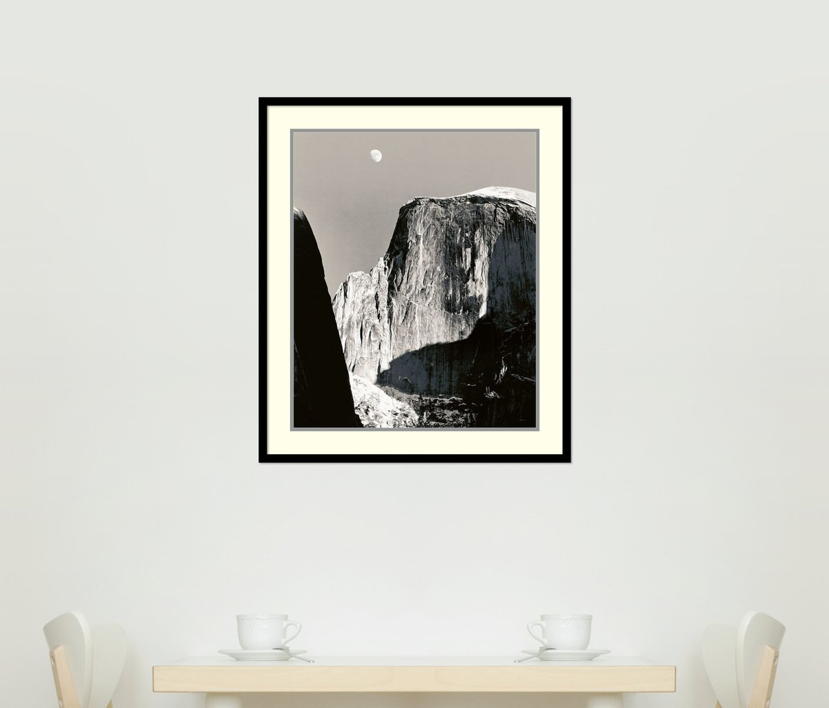 Amazon.com: Framed Art Print, Moon Over Half Dome\' by Ansel Adams ...