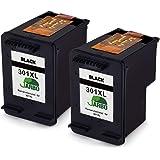 JARBO Remanufactured HP 301 XL Ink Cartridges (2 Black) Compatible with HP Deskjet 1000 1010 1050 2000 2050 2540 HP Envy 4500 4502 4504 4505 4507 5530 5532 5534 HP Officejet 2620 2622 2624 4630 4632 4636