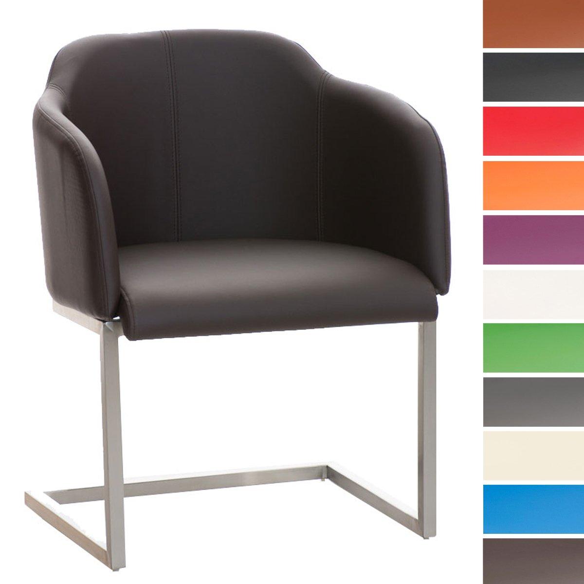 Orange CLP Chaise Salle /à Manger Magnus Design Similicuir Dossier et Accoudoirs I Pieds Oscillant en Acier Solide I Chaise de Reception I Couleur