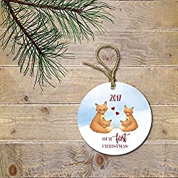 Ornament Twin's First Christmas Fox Family Personalized