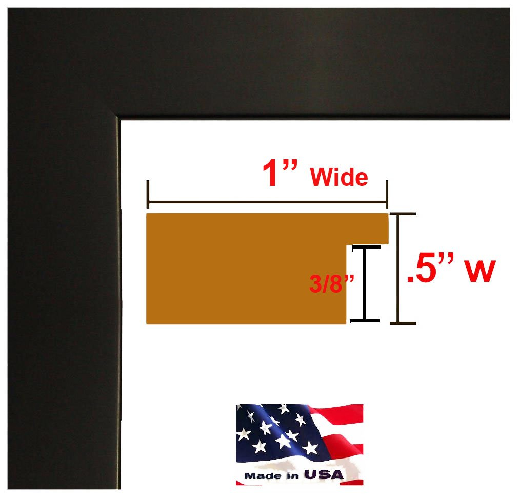 US Art 12x36 Custom Flat Black Satin Picture Poster & Photo frame Wood Composite MDF ONE inch Moulding by US Art