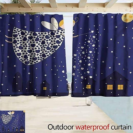 Cortina de Noche para Puerta corredera con diseño de Luna y Nubes sobre la Calma, Capa de Agua dramática, Cielo Oscuro Patio, Porche, cenador o pérgola, Azul Marino, Blanco y Negro: Amazon.es: