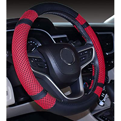 Microfiber Leather and Viscose Universal Breathable anti-Slip Odorless Steering Wheel Cover (15.25''-16'', Red): Automotive
