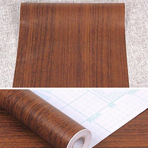 SimpleLife4U Minimalist Brown Wood Grain Contact Paper Self Adhesive Shelf Liner Nightstand Door Sticker 17.7 Inch by 9.8 Feet by SimpleLife4U (Image #2)