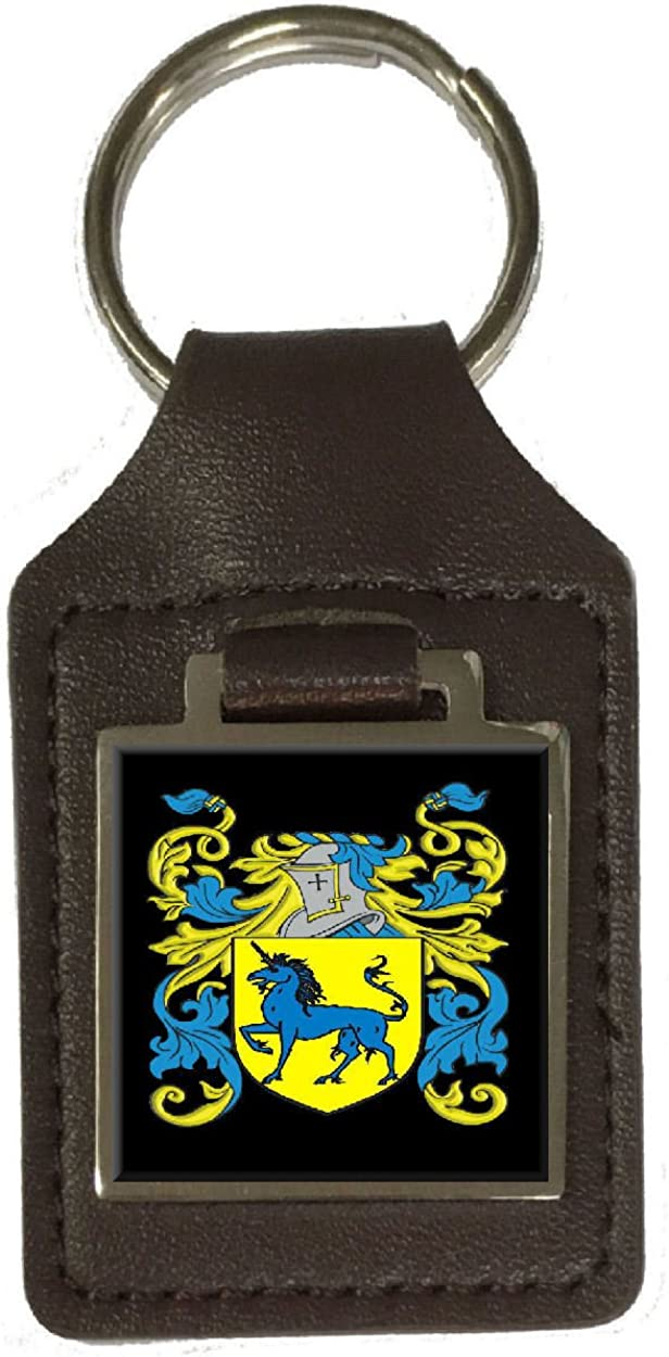 Bawde Family Crest Surname Coat Of Arms Brown Leather Keyring Engraved