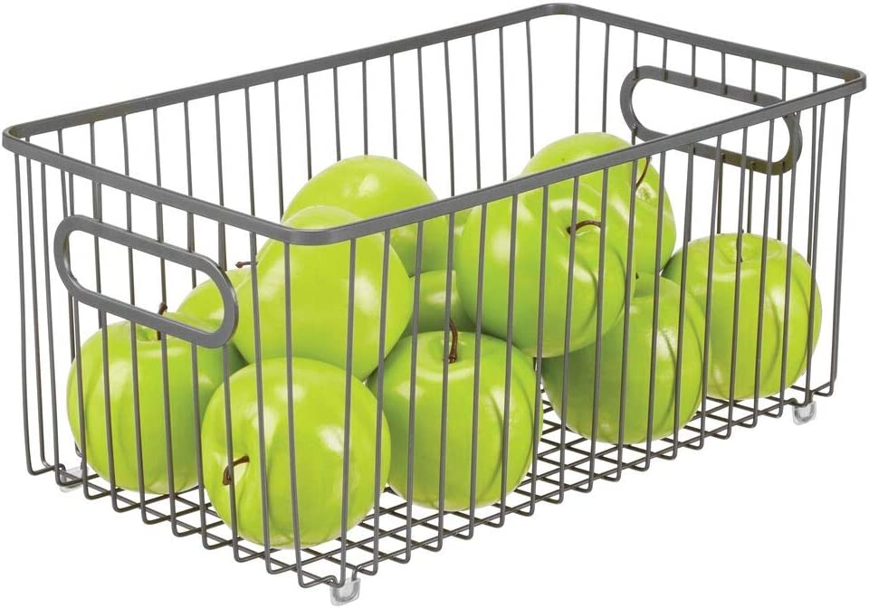 mDesign Metal Farmhouse Kitchen Pantry Food Storage Organizer Basket Bin, Wire Grid Design - for Cabinets, Cupboards, Shelves, Countertops - Holds Potatoes, Onions, Fruit, Extra Large - Graphite Gray