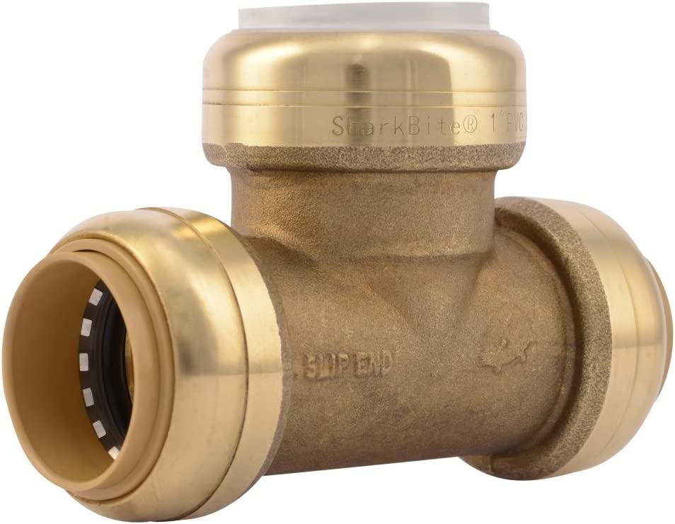 SharkBite PVC Fitting UIP375A 1 inch CTS X 1 inch CTS X 1 inch PVC, PVC Connector to Copper, PEX, CPVC, HDPE or PE-RT for Potable Water