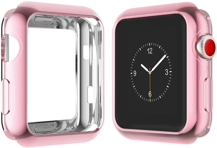 Case for Apple Watch 38MM, Qinfeng Shock-Proof and Shatter-Resistant Soft Slim TPU Protective Cover with Flexible Anti-Scratch Bumper for Apple Watch Series 1,2,3 (Rose)