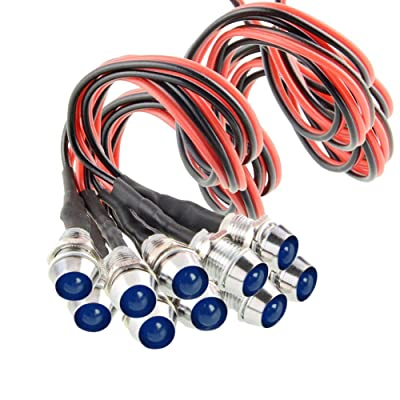 """Amotor 10Pcs 8mm 5/16"""" LED Metal Indicator Light 12V Waterproof Signal Pilot Lamp Dash Directional Car Truck Boat with Wire (Blue): Automotive"""